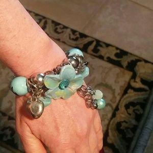 Tibetan silver and blue stretch bracelet nwot